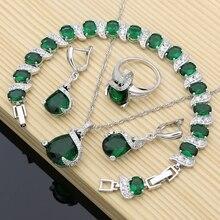 Zestawy biżuterii ze srebra próby 925 zielony CZ dla kochanka kolczyki z kamieniem tureckie dekoracje Dropshipping