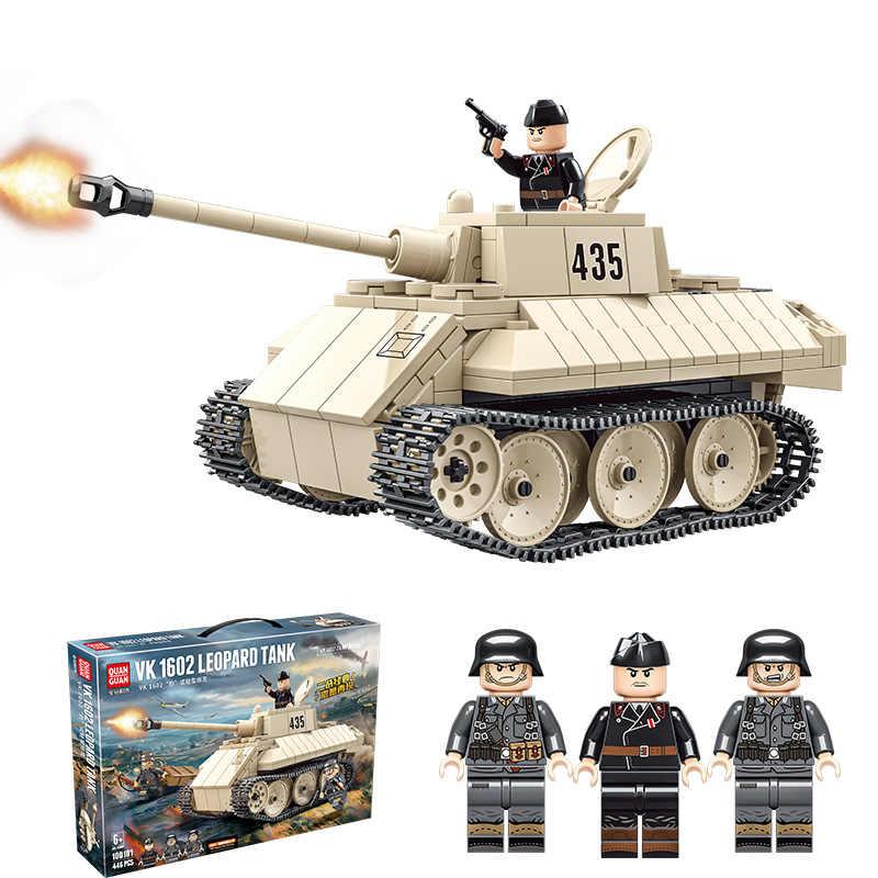 חדש 446pcs WW2 טנק סדרת גרמנית פנתר טנק VK1602 בניין בלוקים לבני מודל WW2 צבאי דמויות צעצועים