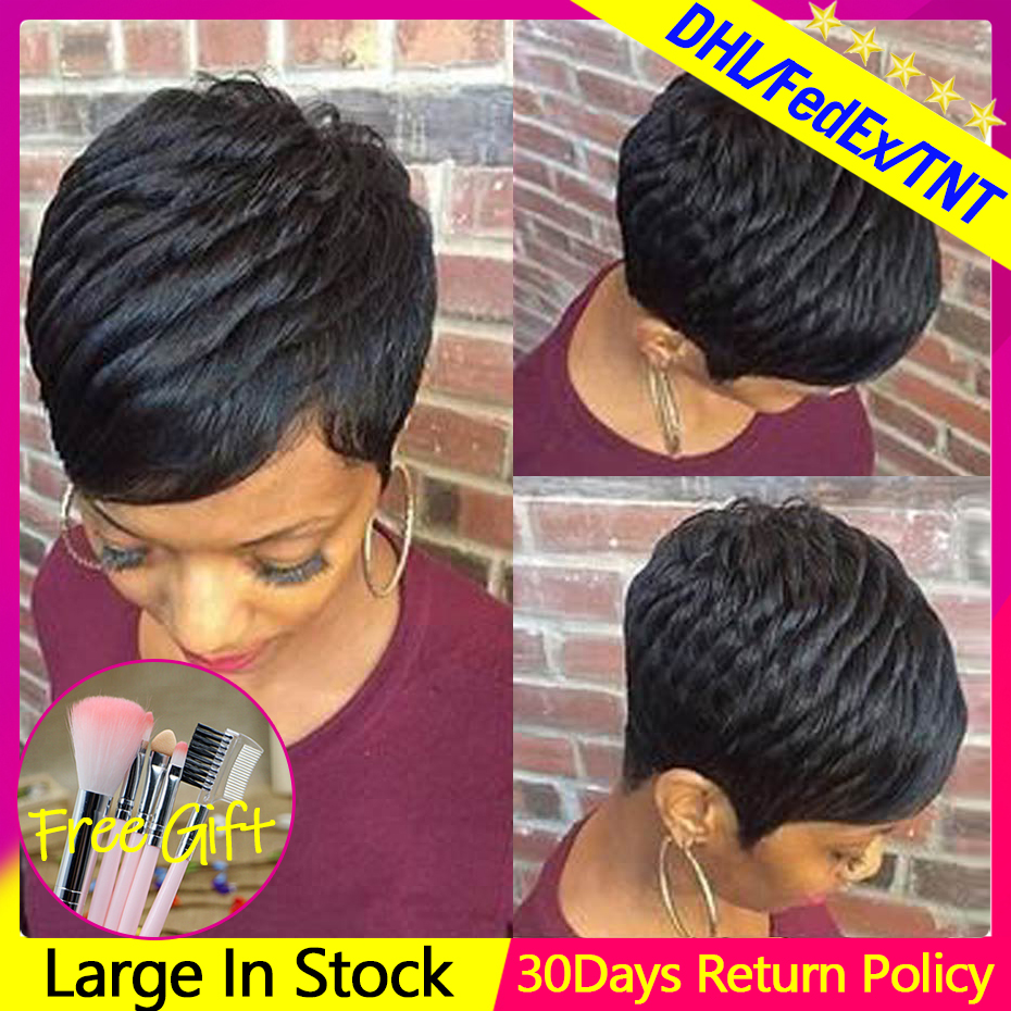 Short Pixie Cut Wigs Machine Made Human Hair Wigs 1-2-5-10 Pieces/lot Remy Wholesale Price Factory Direct-sale Free Shipping