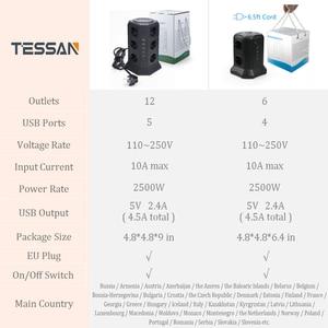 Image 2 - Tessan eu power strip torre com 5 portas usb + 12 soquetes 2m/6.5ft cabo de extensão protetor de sobrecarga para o interruptor eu plug