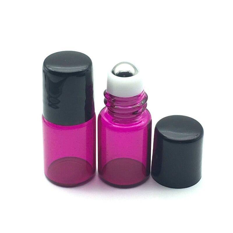 1pcs 2ml Rose-red Refillable Roll On Glass Bottles For Essential Oils Roller Perfume Mini Roller Bottle Fast Shipping