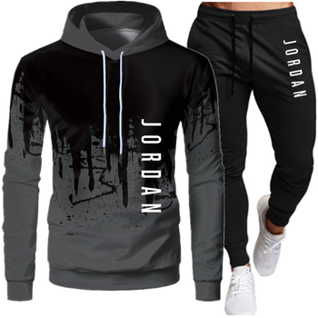 Casual Men Sets Clothing Fashion Tracksuit Casual Sportsuit Hoodies Sportswear Hooded Sweatshirt+Pant Pullover two piece Set