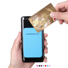 Unisex Elastic Stretch Lycra Adhesive Cell Phone ID Credit Card Holder Sticker Pocket Wallet Case Card Holder Fit for Most Phone(China)