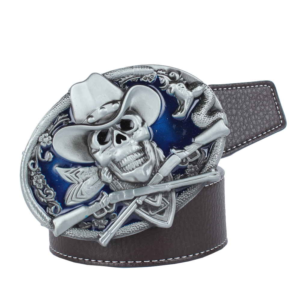 Men's Belts PU Leather Belt (49.21x1.5inch) Skull And Snake Buckle For Western Cowboy Jeans
