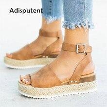 Женская обувь на танкетке; босоножки на высоком каблуке; Летняя обувь; коллекция года; флоп; chaussures femme; Босоножки на платформе; размера плюс
