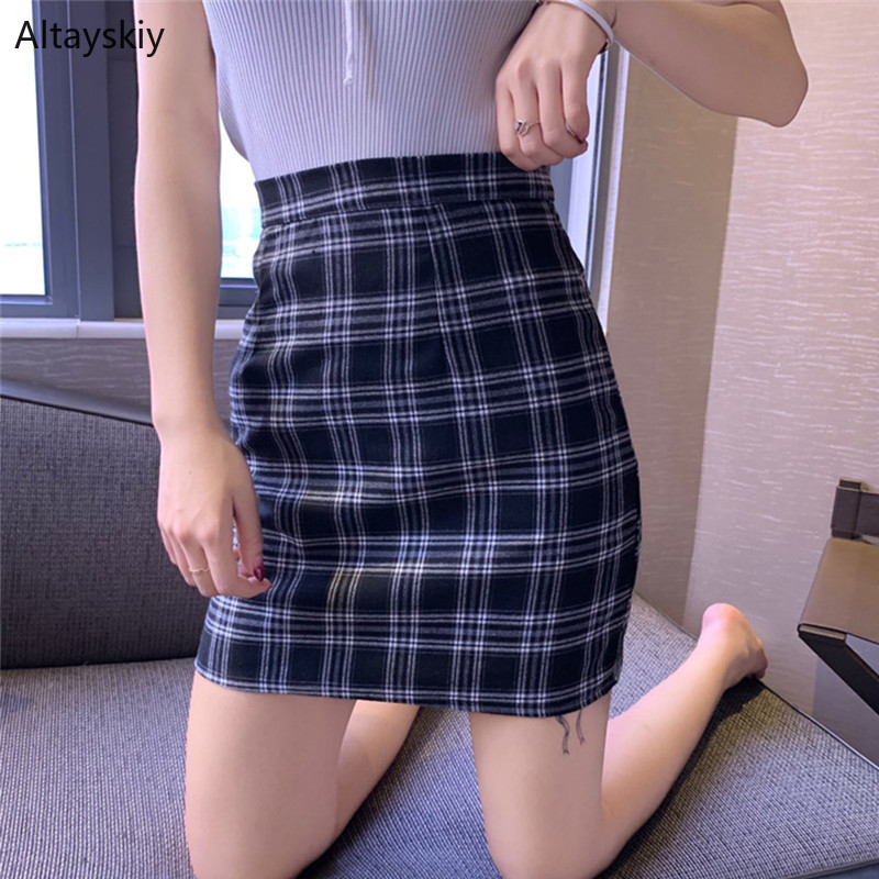 Skirts Women Retro Skirt Female 2020 Korean Version Chic High Waist A-Line Students Trendy Womens All-match Elegant Lovely Plaid