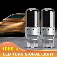 SUHU-luces de circulación diurna, 2 uds., juego de luces cromadas 7440 T20 ámbar, Canbus, sin Error, bombilla LED para lámpara, señal de giro, lámpara inversa