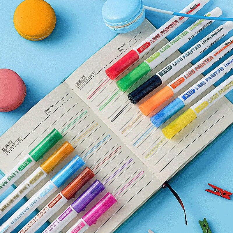 12 colores doble línea contorno de la pluma metálica brillante Color resaltador línea marcador pluma arte de la escuela de pintura de suministros
