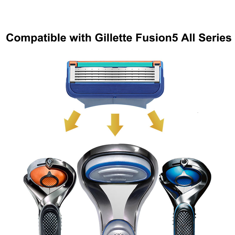 4pcs/lot Razor Blade For Men Face Care 5Layers Shaving Cassette Stainless Steel Safety Blades Suit For Gillettee Fusione 2