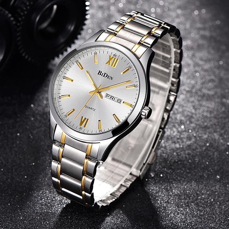 Men's Stainless Steel Watch Fashion Business Quartz Wrist Watches Men Round Gold Silver Top Quality Clock Gent Waterproof Gift