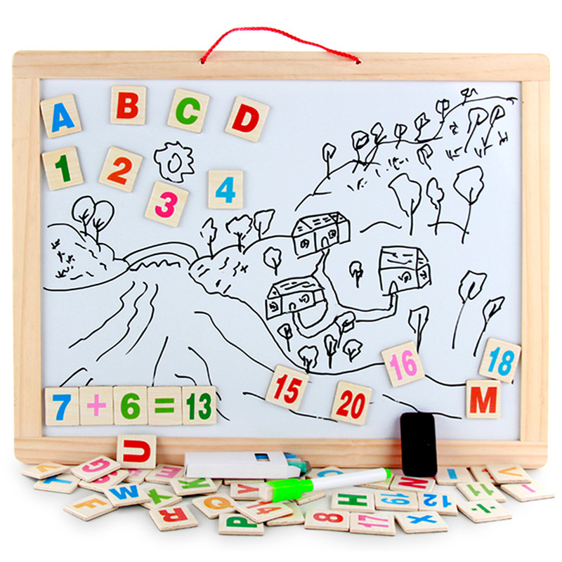 Wooden Drawing Board Magnetic Double-Sided Small Blackboard Writing Board Children Wall Mounted-Household Hanging Wood