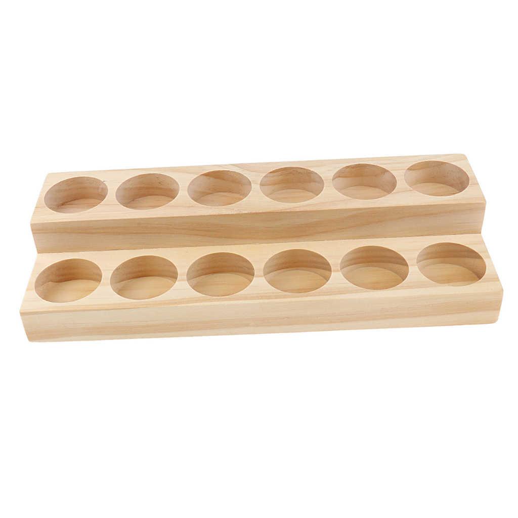 Naturalne drewno 2-poziomy perfumy aromaterapeutyczne olejek do prezentowania, przechowywania biżuterii, zegarków Organizer stojak uchwyt stojak na 12 sztuk 15ml butelki
