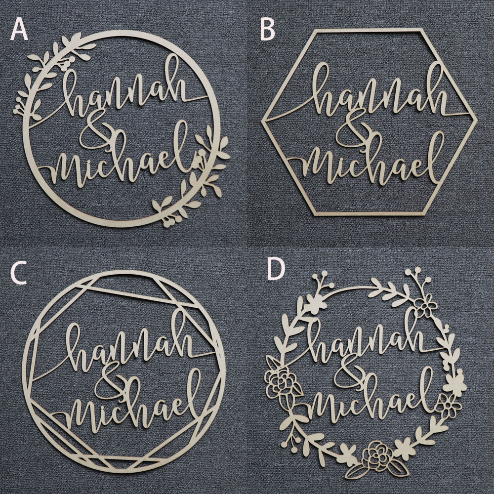 Personalized Bride and Groom Name Wedding Photo Props Wooden Wedding Decoration Centerpieces Wreath Circle Signs (5)