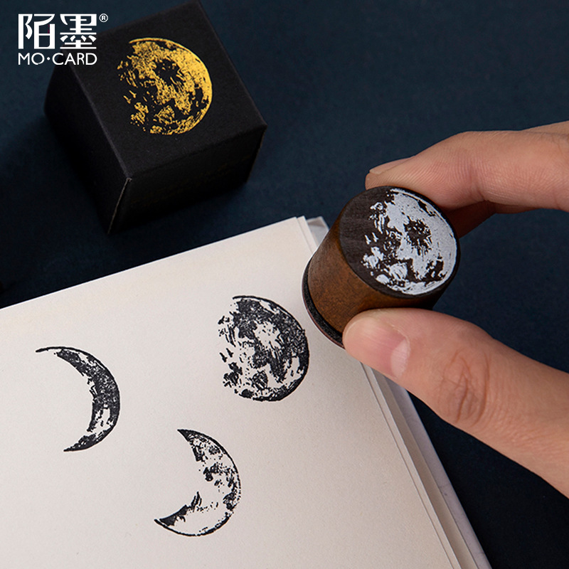 Vintage Moon Series Wood Stamp DIY Craft Wooden Rubber Stamps For Scrapbooking Deco Stamps Stationery School Office Supplies