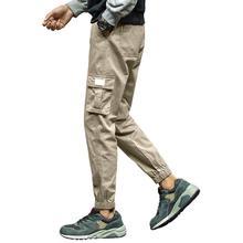 Мужчины повседневный износостойкий большой размер завязка на щиколотке шнурок хлопок брюки брюки