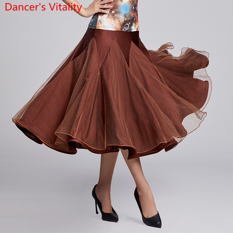 New Modern Dance Wear 4 Colors Splicing Big Hemlines Skirt National Standard Waltz Jazz Dancing Stage Practice Training Clothes
