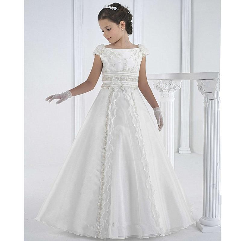 White Flower Girl Dresses For Wedding Lace First Communion Dresses For Girls A-line Ankle-length Vestidos De Comunion
