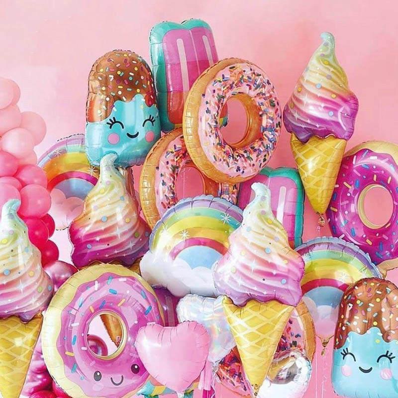 Toy Donut Foil-Balloon Ice-Cream Birthday-Party-Decoration Fruit Sweet Kids Digital 32inch