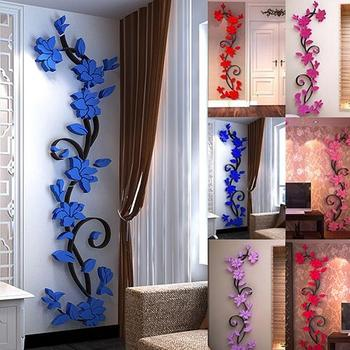 New Fashion Home Living Room Decorations Wall Stickers 3D Flower Removable DIY Wall Sticker Decal Mural bedroom decor 1