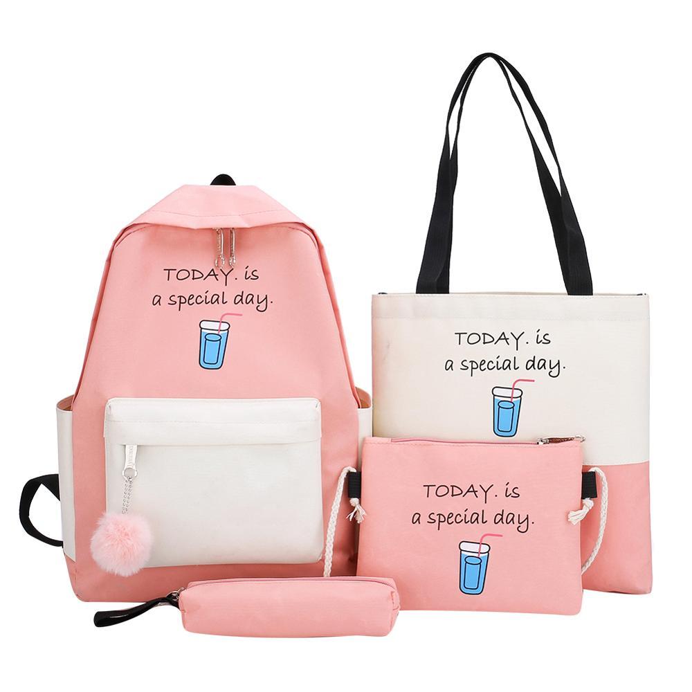 Fashion New Women 4Pcs/set Canvas Backpack Teenager Students School Bag Girls Large Capacity Shoulder Travel Bag Bolsas Mochilas