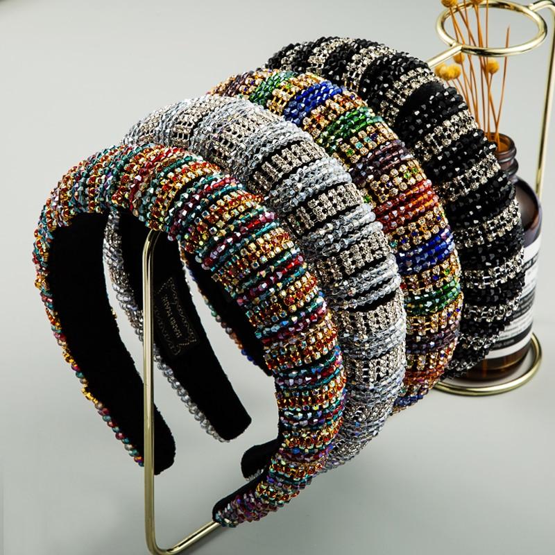 Tiara de Cabelo de Cristal Espesso para Mulheres Feita de Argola para Casamento Multicolor Luxo Colorida Strass za