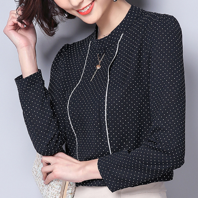 Polka Dot Shirts Woman Clothes Long Sleeve Chiffon Blouse Women 2020 Spring Tops New Button Blouses Casual Black Chemisier Femme 2