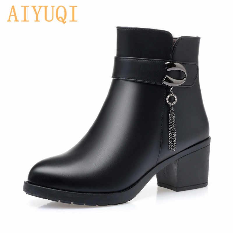 AIYUQI kış bayanlar patik büyük boy 41 42 43 yün sıcak orta yaşlı anne kar botları kadın kış ayakkabı yarım çizmeler kadın