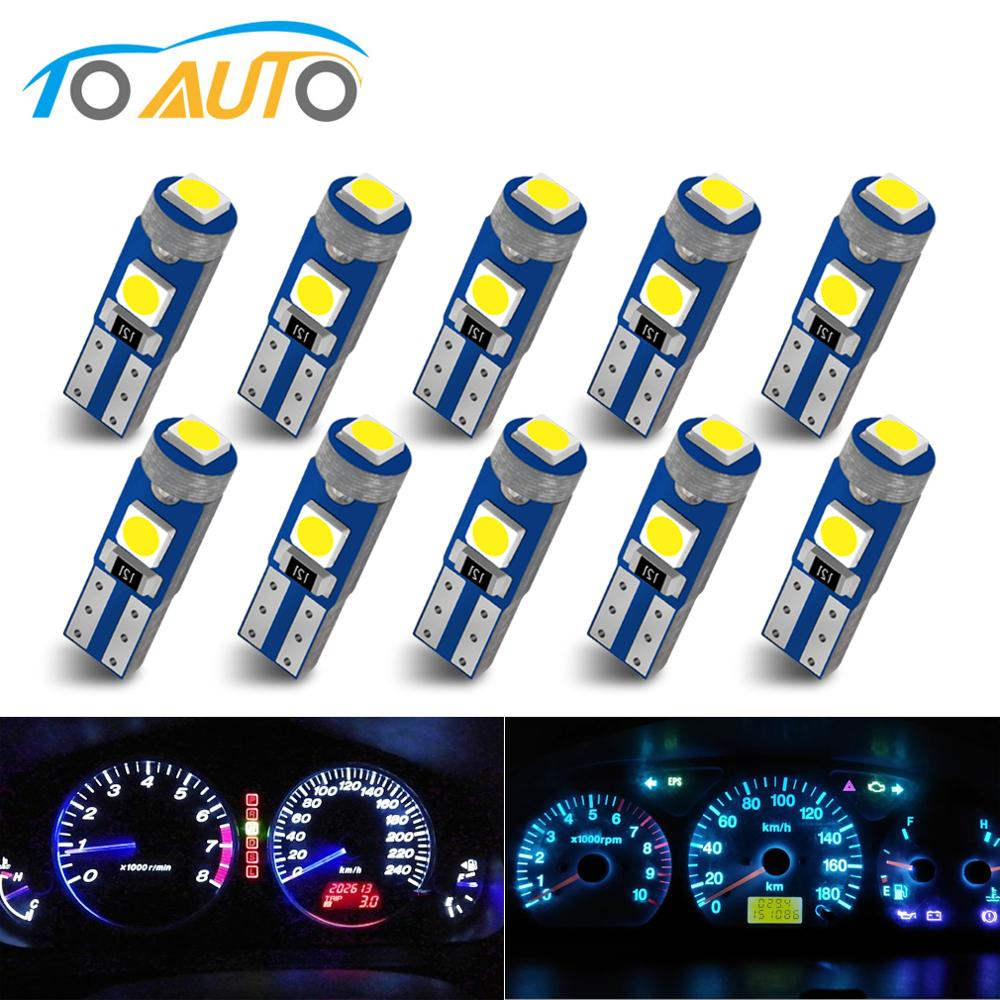 10Pcs <font><b>T5</b></font> W3W W1.2W <font><b>T5</b></font> W2X2.6d 3030 <font><b>LED</b></font> Car Board Instrument Panel Lamp Auto Dashboard Warming Indicator Wedge Light Bulb DC12V image