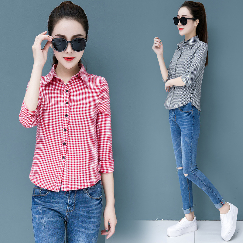 2020 Spring Autumn New Women Fashion Classic Plaid Shirt & Blouse Feminine Long Sleeve Versatile Shirt & Tops Plus Size 5XL