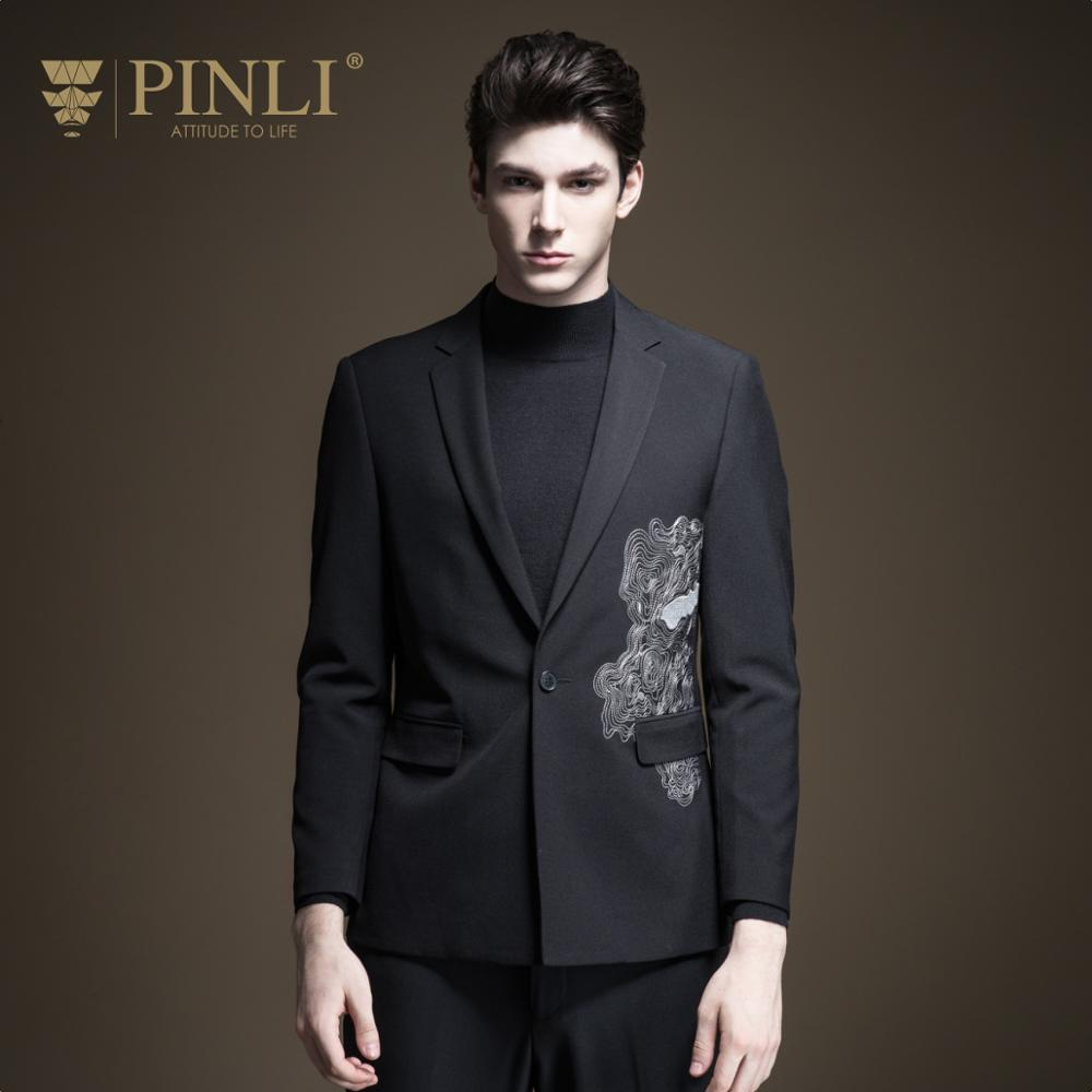 Blazer Hombre Regular Full Blaser Masculino Pinli Fall 2019 New Men's Decorated Body Embroidered Leisure Suit Jacket B193306228