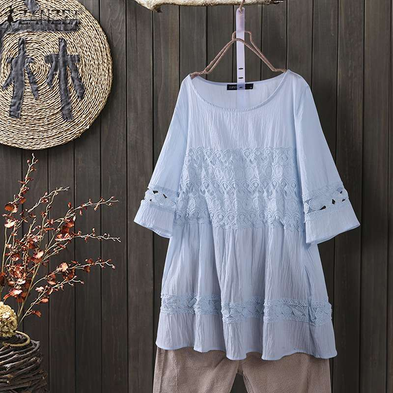 Elegant Lace Stitching Tops Women's Summer Blouse 2020 ZANZEA Casual Short Sleeve Shirts Female O Neck BLusas Oversized Tunic