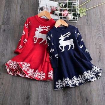 Vestido de suéter de Navidad para niñas, vestido de invierno de manga larga tejido con estampado de copos de nieve de ciervo cálido, disfraz de fiesta de año nuevo para niños