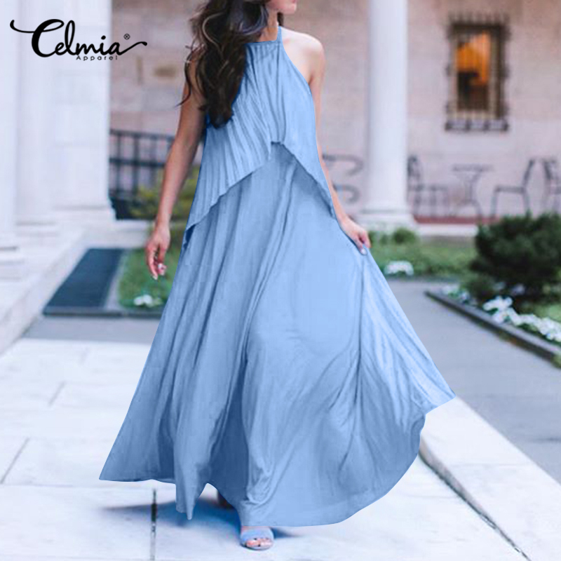 <font><b>5XL</b></font> Celmia Bohemian Dress Summer Women Sleeveless <font><b>Sexy</b></font> Halter Long Sundress Casual Loose Ruffles Maxi Robe <font><b>Femme</b></font> Beach Vestidos image