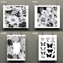 AZSG Beautiful Flowers Transparent Clear Stamp/Seal for DIY Scrapbooking/photo Album Decorative Stamp Sheets