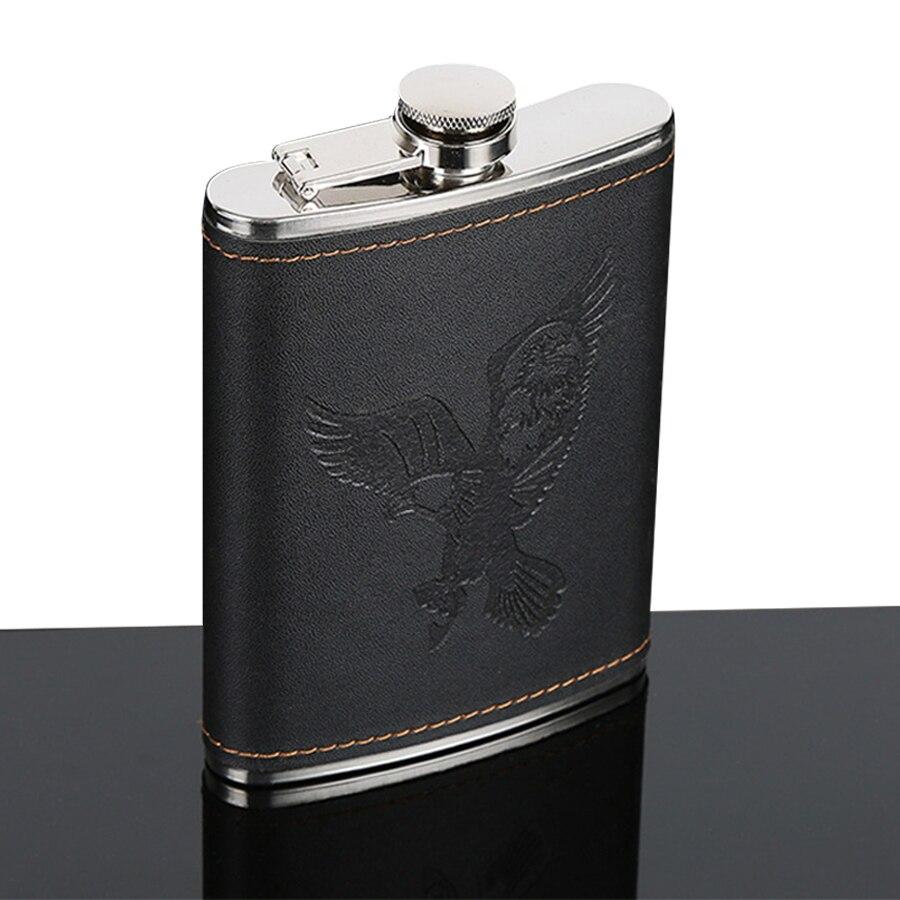 Brand New 7oz Mini Hip Flask Alcohol Bottle Stainless Steel Eagle Logo Pocket Whiskey Wine Bottle Outdoor Small Wine Glass