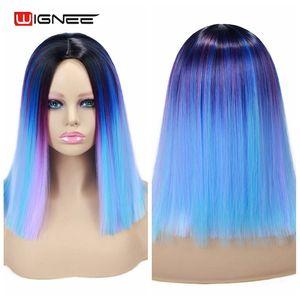 Image 4 - Wignee קצר ישר שיער סינטטי פאות מעורב סגול/כחול טבעי שחור קשת פאת Glueless קוספליי נשים שיער יומי פאות