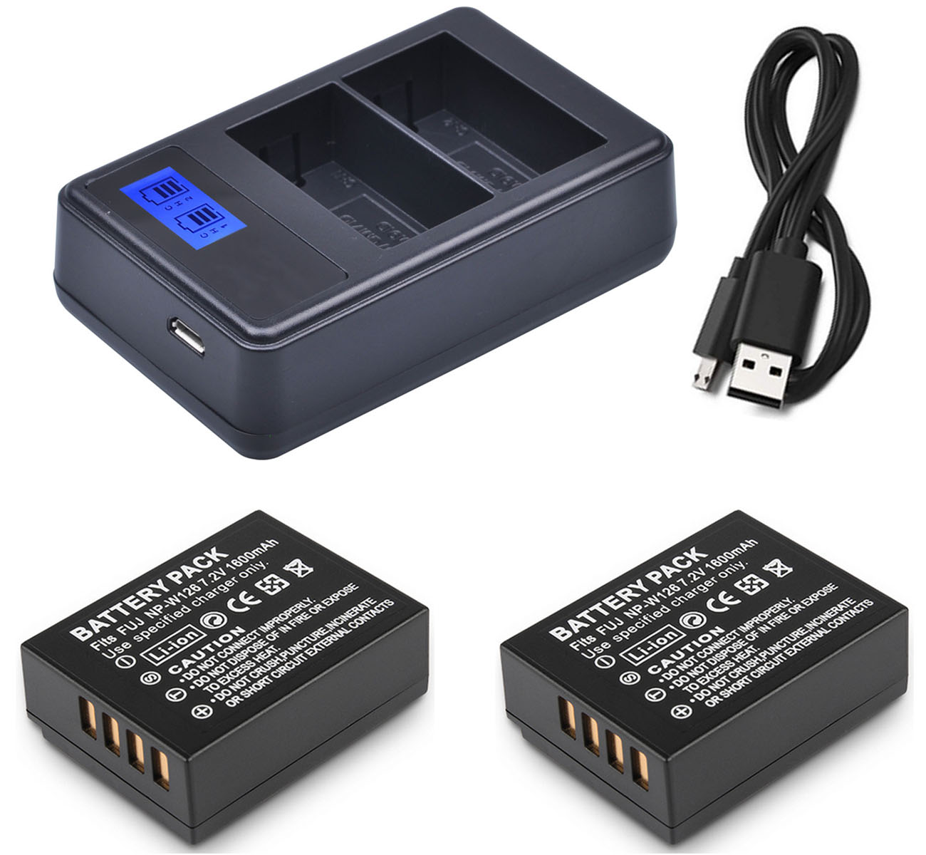 Battery (2-Pack) + Charger for Fujifilm FinePix HS30EXR, HS33EXR, <font><b>HS35EXR</b></font>, HS50EXR, HS30, HS33, HS35, HS50 EXR Digital Camera image