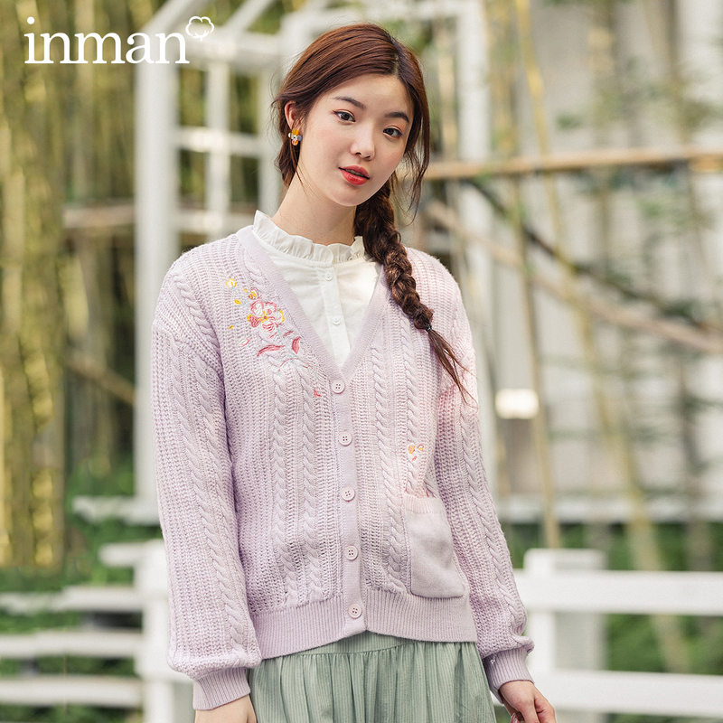 INMAN 2020 Spring New Arrival Literary Art Sweet Style V Neck Embroidery Loose Style Women Girl Cardigan Sweater