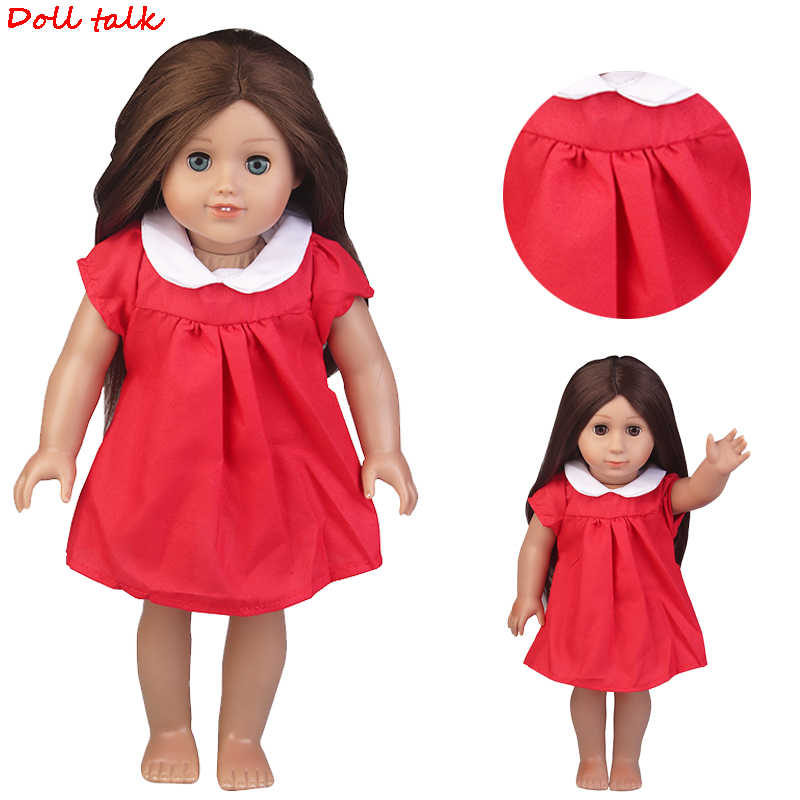 American Doll Clothes Red Suit Dress Fit 43cm Baby Dolls 18 Inch Dolls Toy