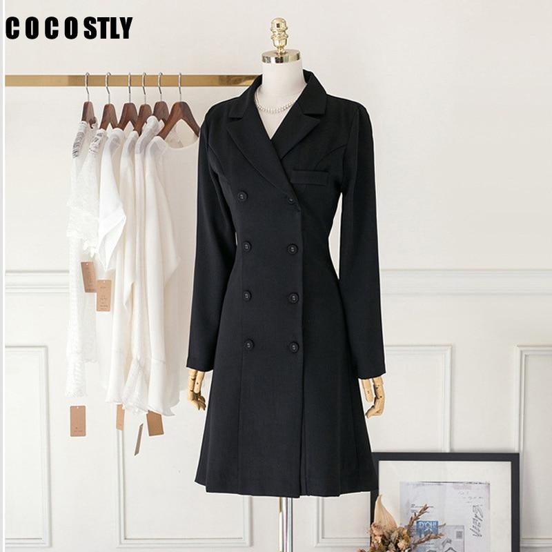 Autumn Korea Style Suit Jacket Women Full Sleeve Turn-down Double Breasted Black Blazer Women Slim Coat Long Blazer Feminino