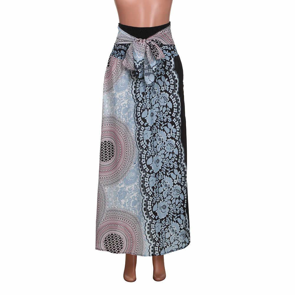 38 # rok Vrouwelijke 2020 Vrouwen Casual Eenvoudige Mode Lange Hippie Boho Gypsy Boho Bloemen Elastische Bloemen Jarretel Rokje