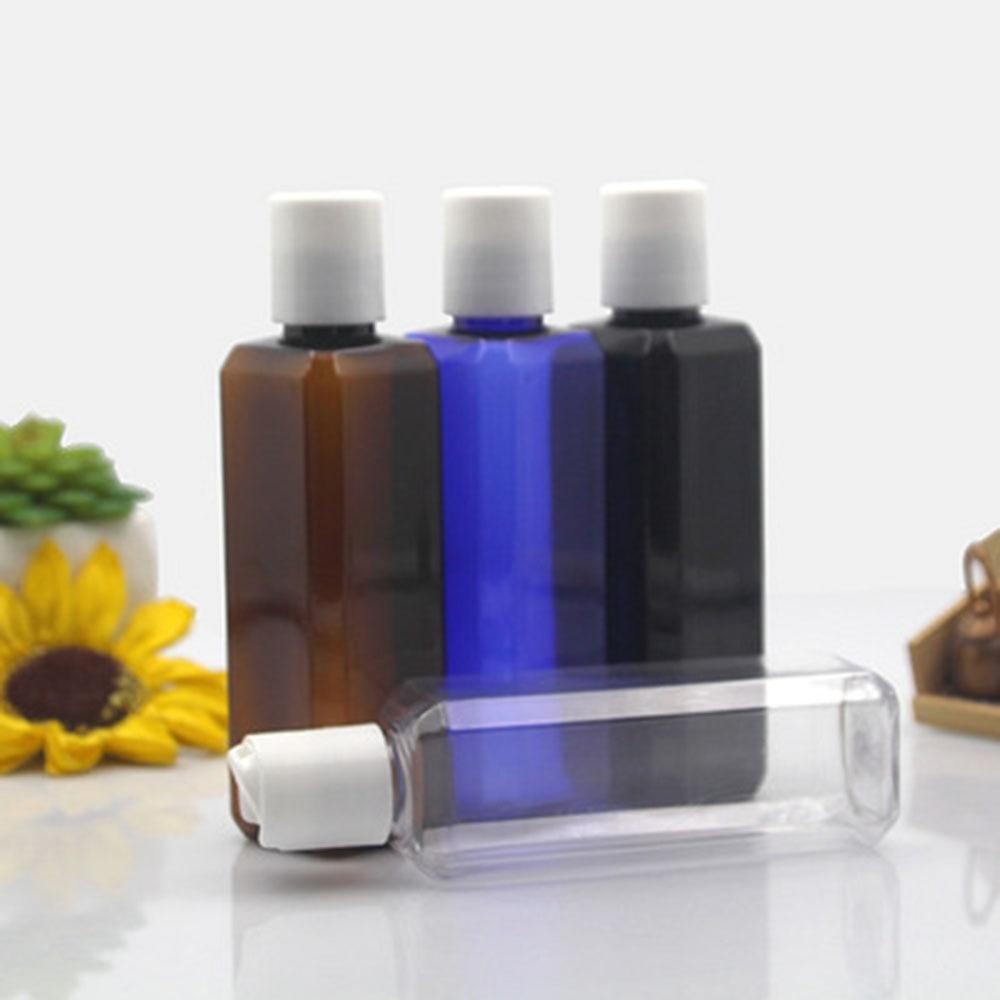 New Square Shaped 100ml Flip Top Cap Liquid Bottle Clear PET Travel Refillable Bottles Portable Female Makeup Cosmetic Jar