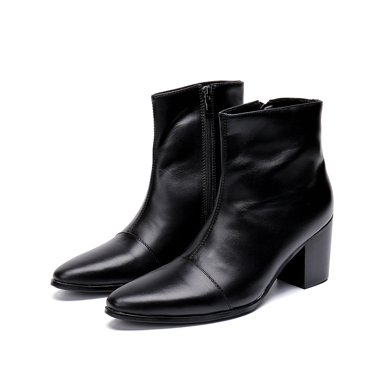 Mens New Style Zip Dress Boots Brand Fashion Mens Ankle Boot  Genuine Leather Breathable Pointed Toe  Oxfords  For Men