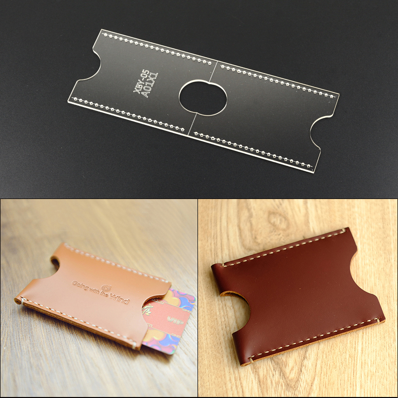 Acrylic laser version of the template bus card package card set DIY manual leather card package sewing tools