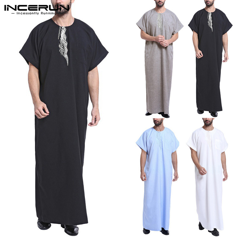 INCERUN Muslim Dress Kaftan Men Printed Short Sleeve Retro Robes Loose Dubai Saudi Arabia Abaya Islamic Kaftan Men Jubba Thobe