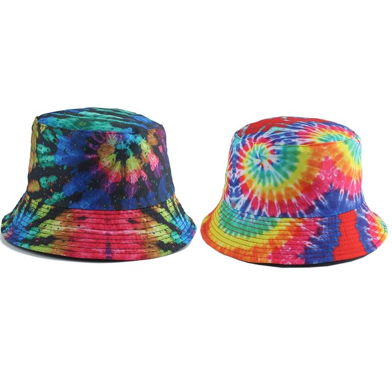 Sombrero de pescador Reversible Harajuku, sombreros para hombres y mujeres, gorro de Hip Hop callejero, tinte de corbata de arco iris, gorro de pesca estampado