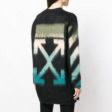 цена на 2019 Autumn Sweater New Loose Gradient Arrow Mohair Pullover Women Black Sweater O-Neck Pullovers Black Sweater Clothes Women