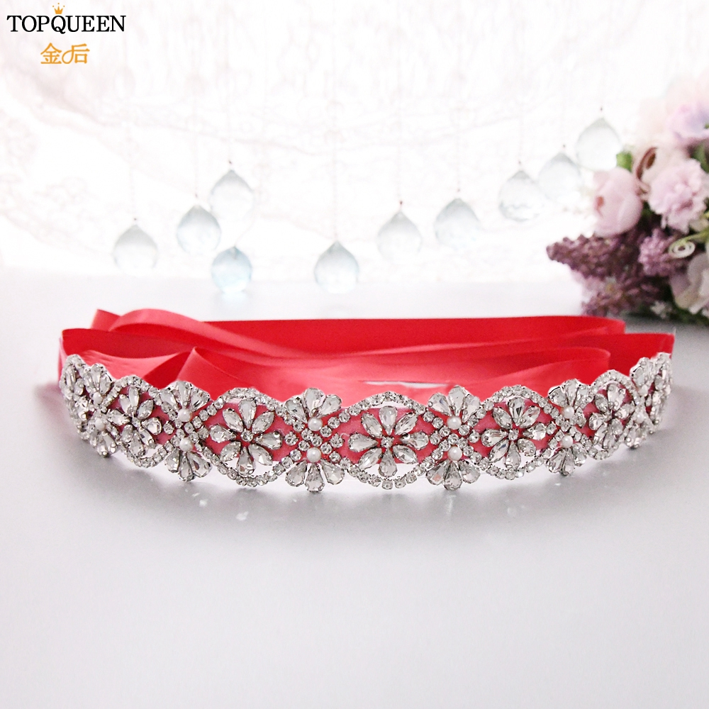 TOPQUEEN Silver Rhinestone Straps For Wedding Dress Jeweled Ladies Belt Formal Accessories Belt Bridal Sash For Wedding S453