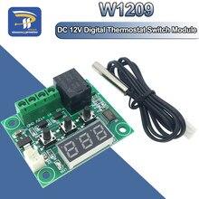 W1209 vermelho e azul dc 12 v calor frio temp termostato interruptor de controle temperatura termômetro thermo controlador + sensor ntc + caso
