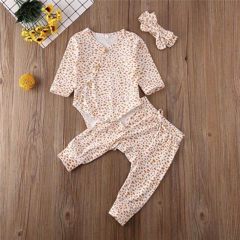 0-18 Months Newborn 3pcs Set Infant Baby Girl Leopard Rompers Jumpsuit Bodysuit Pants Headband Set Baby Girls Clothes Boys Set